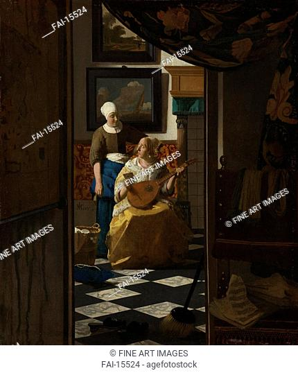 The Love Letter. Vermeer, Jan (Johannes) (1632-1675). Oil on canvas. Baroque. c. 1670. Rijksmuseum, Amsterdam. 44x38,5. Painting