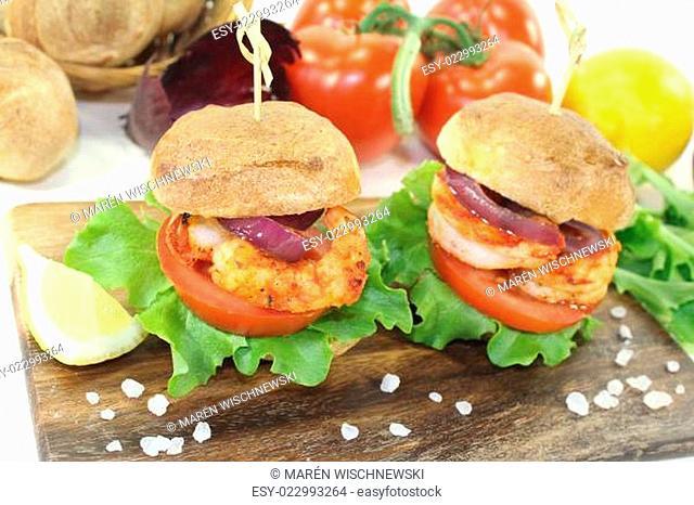 gesunder köstlicher Garnelenburger