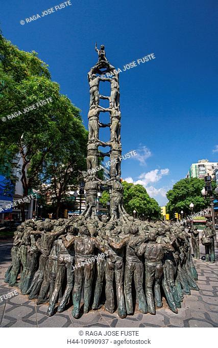 Spain, Catalonia, Tarragona City, Ramblas Avenue, Castellers Monument