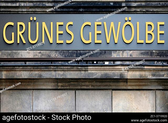 Portal of the treasure chamber Grünes Gewölbe in the Saxon Royal castle of Dresden - Germany