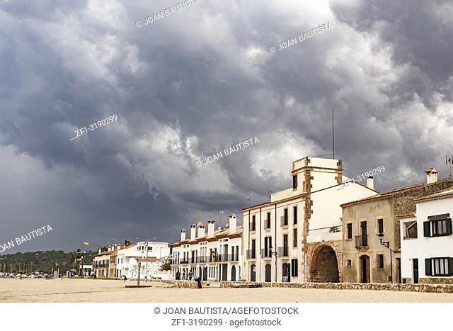 Mediterranean beach, maritime promenade, Les botigues de mar, maritime quarter in Altafulla, Costa Daurada, province Tarragona, Catalonia