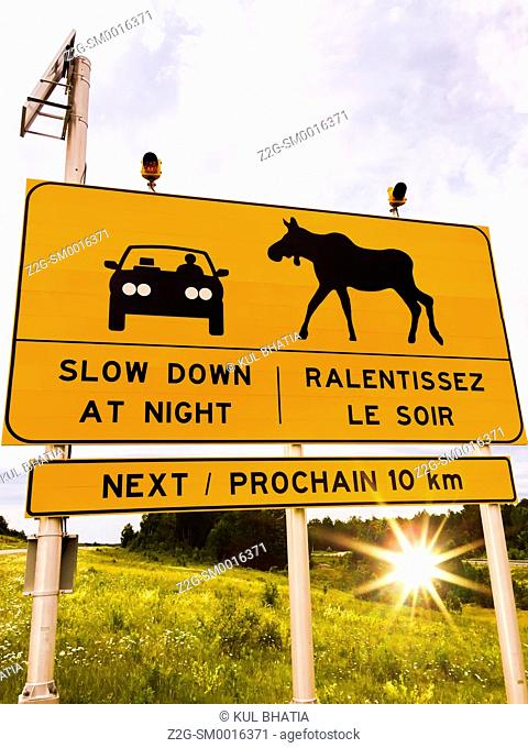 Moose Crossing, caution sign in English and French, Quebec, Canada
