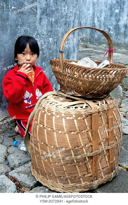 Small girl in Chengkan village, Huizhou, Anhui, China
