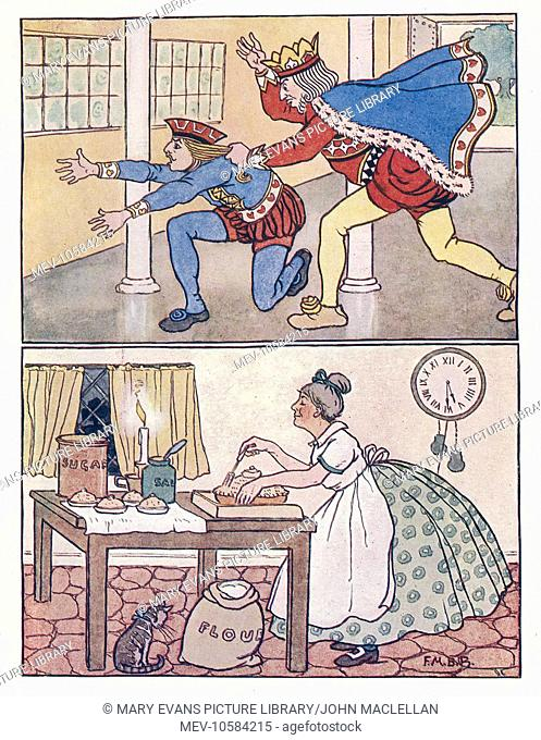 Nursery Rhymes. The King of Hearts punishes the Knave for stealing the tarts (above). A woman bakes a pie (below)