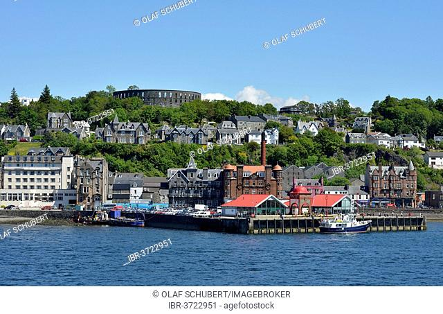 Port and town centre with McCaig's Tower, Oban, Argyll and Bute, Scotland, United Kingdom