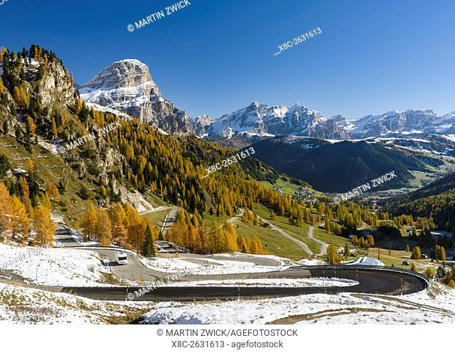 Mountain road leading up to Groedner Joch - Passo Gardena from the Gader valley - Val Badia in the Dolomites of South Tyrol - Alto Adige