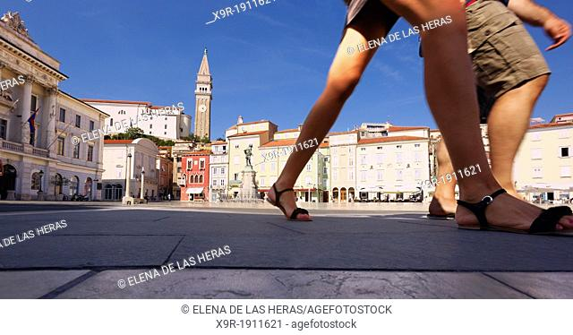 Tartinijev trg Square and St George church, Piran, Adriatic coast, Slovenia