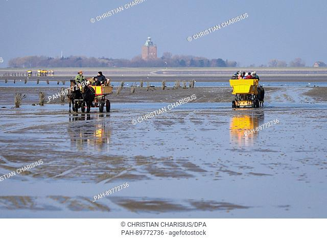 Mud flat carriages bring tourists through the mud flat to Neuwerk island during sunshine in Cuxhaven, Germany, 4 April 2017