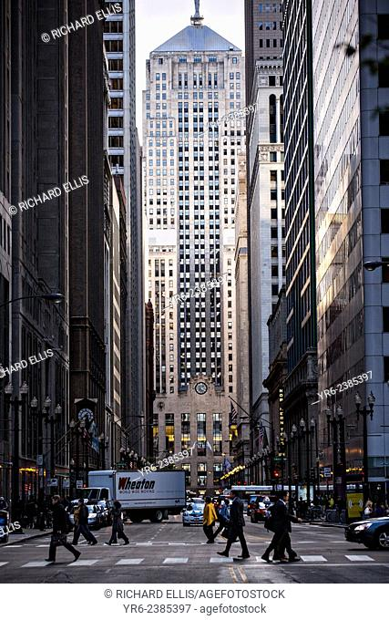 Chicago Board of Trade building from Lasalle Street canyon Chicago, IL