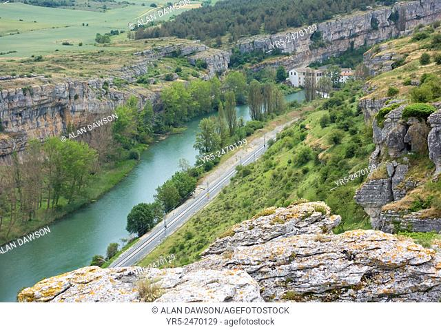 View over La Horadada and Las Tuerces gorge with old flour mill and rail track alongside river Pisuerga. Palencia province, Castile and Leon, Spain