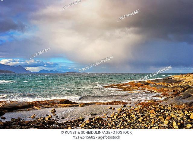 Stormy coast near Borkenes on island Hinnøya in northern Norway