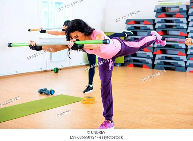 Group of people excercising with fitbars at fitness club