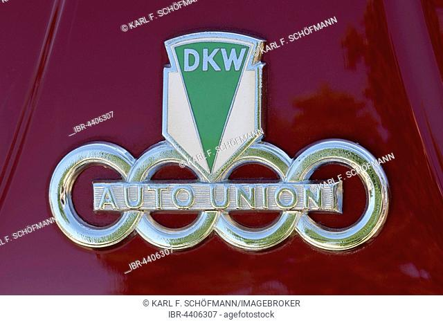 Emblem of a DKW Auto Union, former German car brand, Classic Days Dyck 2016 Juchen, Niederrhein, North Rhine-Westphalia, Germany