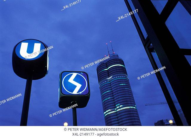 subway and municipal railway sign next to Milleniumstower
