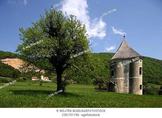 Soteska, Devils Tower, park pavilion, 17th century, Krka River Valley, Slovenia
