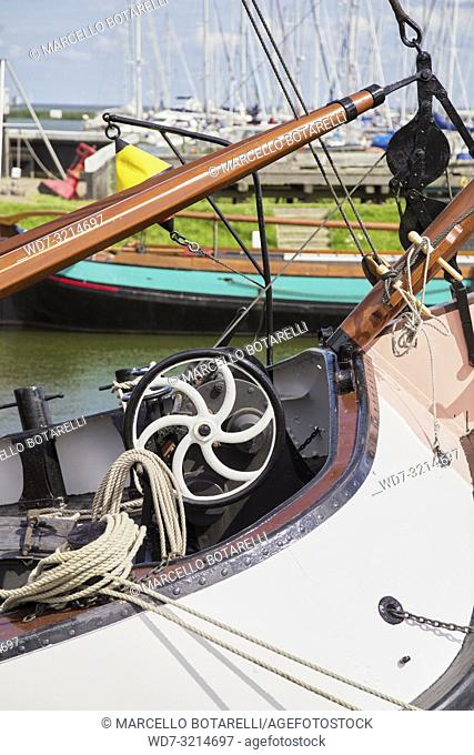 Detail of boat moored in the marina of Enkhuizen, in northern Holland, a typical fishing village