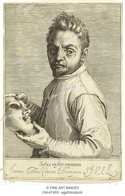 Portrait of the Composer Giovanni Gabrieli (1557-1612) by Carracci, Agostino (1557-1602)/Etching/Mannerism/c. 1599/Italy