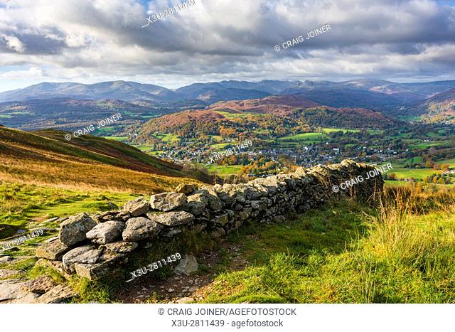 View from Wansfell over Ambleside and Loughrigg Fell beyond in the Lake District National Park, Cumbria, England