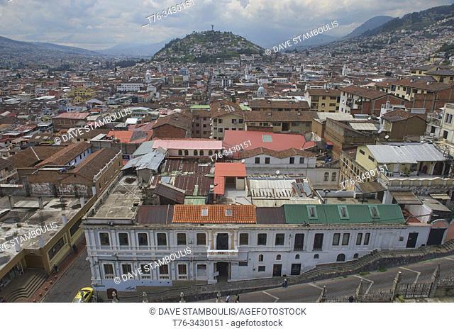 Views over the historic Old Town Quito, Ecuador