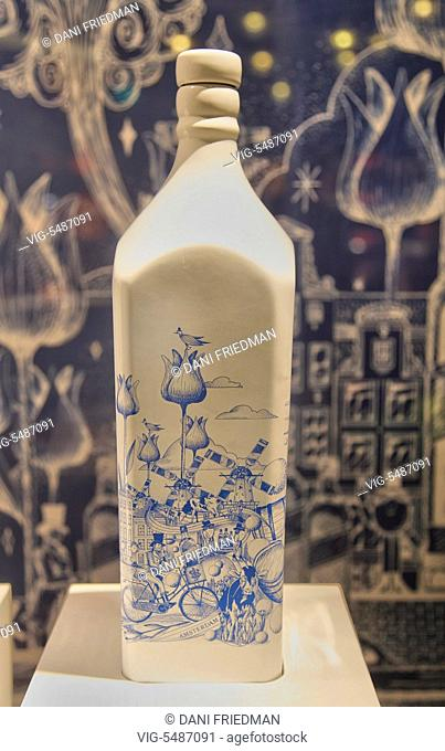 NETHERLANDS, AMSTERDAM, 26.12.2015, Special addition Delft Pottery bottle of Johnnie Walker blue label Scotch whisky on display in a shop at the Amsterdam...