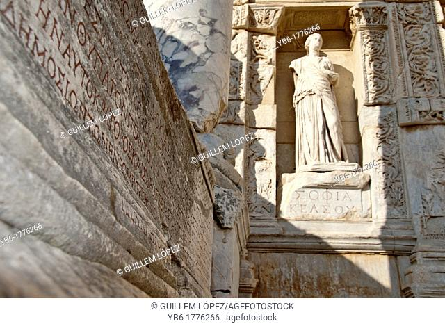 Godess Statue at the Library of Celsius, Ephesus, Selcuk, Izmir, Turkey