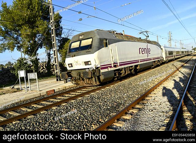 Express train. Montroig del Camp, old railway station