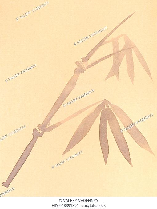 training drawing in sumi-e (suibokuga) style - twig of bamboo handpainted by black watercolors on yellow paper