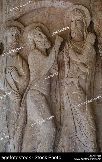 road to Emmaus, 11th century, cloister of Santo Domingo de Silos, Burgos province, Spain