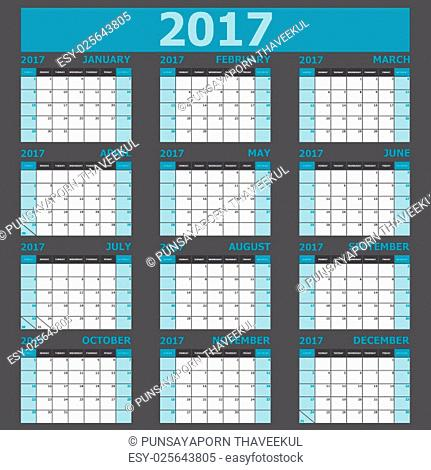 Calendar 2017 week starts on Sunday, stock vector