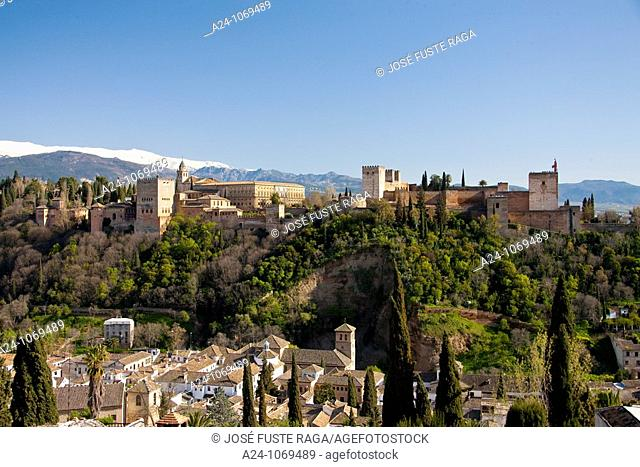 Alhambra Palace and Sierra Morena, Granada, Andalusia, Spain