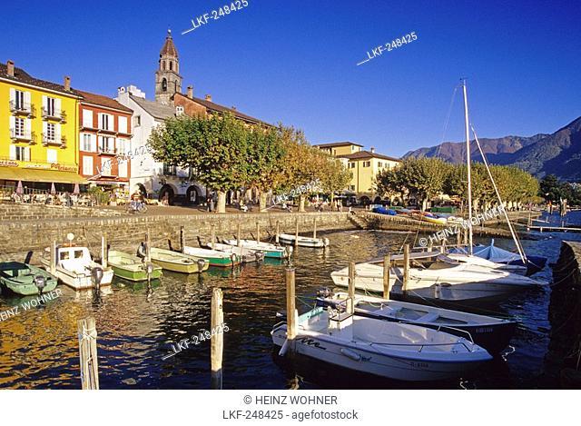 Boats at harbour under blue sky, Ascona, Lago Maggiore, Ticino, Switzerland, Europe