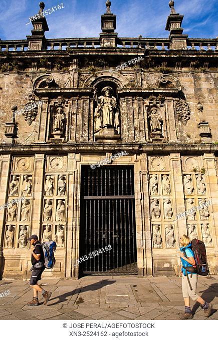 Pilgrims passing in front of the Holy Door, Puerta Santa, View of Santiago Cathedral from Plaza de la Quintana, UNESCO World Heritage Site