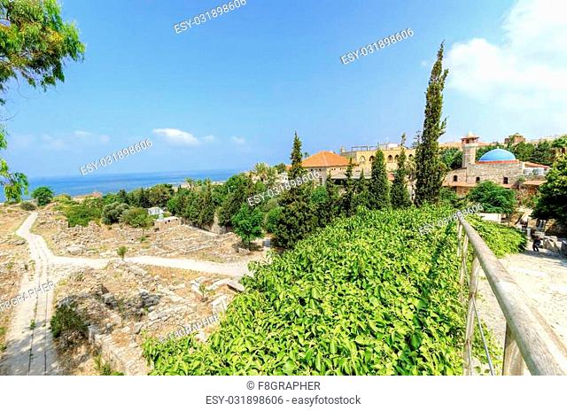 A view of the historic city of Byblos in Lebanon from the crusaders' castle. A view of west part of the ancient site and the path from the city to the castle