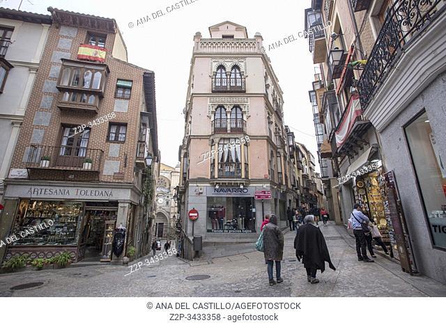 Toledo Castilla Spain on October 22, 2019. Tourists at the city center