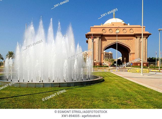 entrance gate to the Emirates Palace Hotel, Emirate Abu Dhabi, United Arab Emirates, UAE, Arabien, Middle East, West Asia