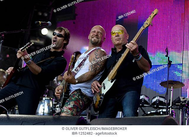 Swiss rock musician Marco Pfeuti a.k.a. Goelae and band live at the Heitere Open Air in Zofingen, Switzerland