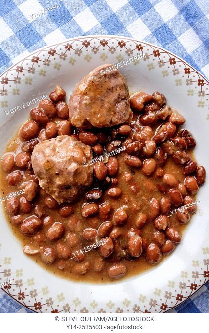 Greek Cuisine. Keftedakia Meatballs with Beans