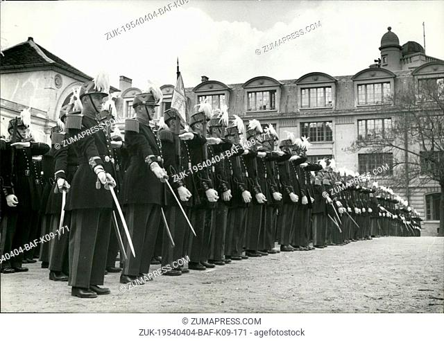 Apr. 04, 1954 - Saint Cyr Cadets at Ecole Polytechnique Saint Cyr cadets standing to attention during the parade hled at the Ecole Polytechnique (Military...