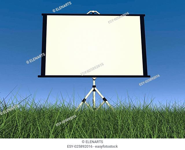 Empty white projection screen in nature with green grass and blue sky