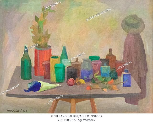Natura morta con bottiglie, cappotto e cappello (still life with bottles, coat and hat),1946, Mario Mafai, 1902-1997, oil on canvas, cm 60 x 80, vatican museums