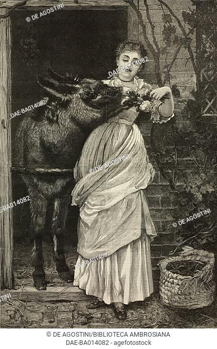More free than welcome, girl with donkey, from the painting by Edward Killingworth Johnson, illustration from the magazine The Graphic, volume XIV, no 356