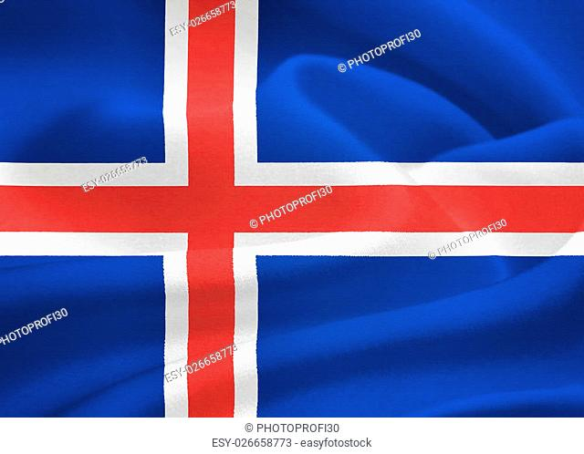flag of Iceland waving in the wind. Silk texture pattern