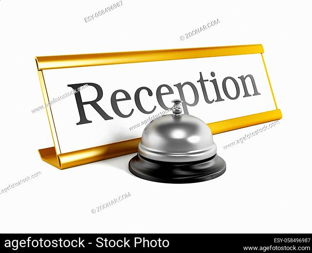 Hotel reception placard and service bell isolated on white background
