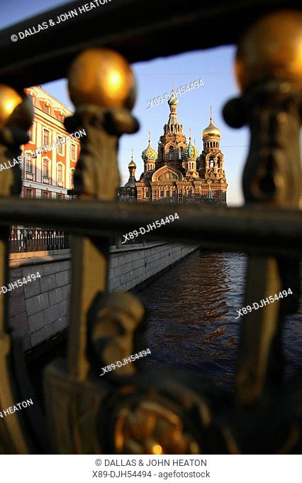 Russia, St Petersburg, Church of the Resurrection Church on Spilled Blood, Griboedov Canal, Theatre Bridge