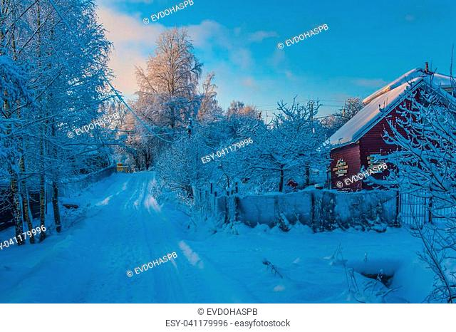 wooden house with boarded up windows for winter, winter landscape