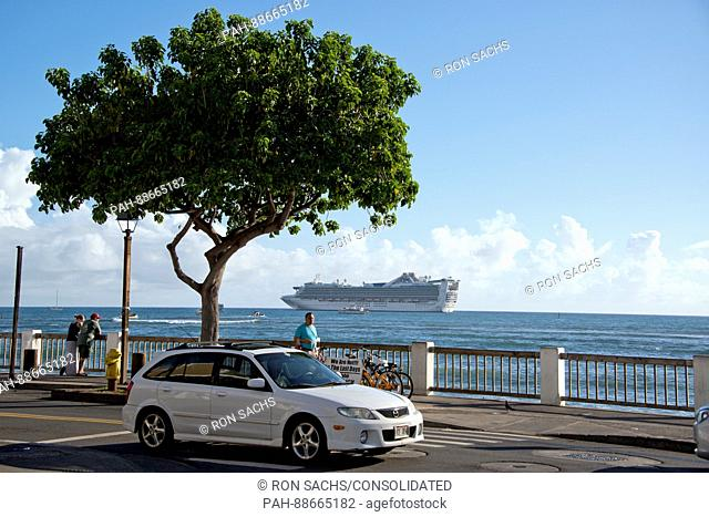 The Star Princess anchored in the harbor of Lahaina, Maui, Hawaii from Front Street on Thursday, March 2, 2017. Star Princess is a Grand-class cruise ship