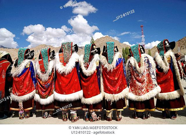 One of the many annual ladakhi festivals Were poeple enjoy to meet and exchange news Wearing their traditional cloth is part of their culture Music and dancing...