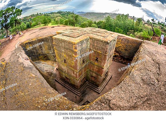 Rock hewn monolithic church of Bet Giyorgis (Church of St. George) in Lalibela , Ethiopia