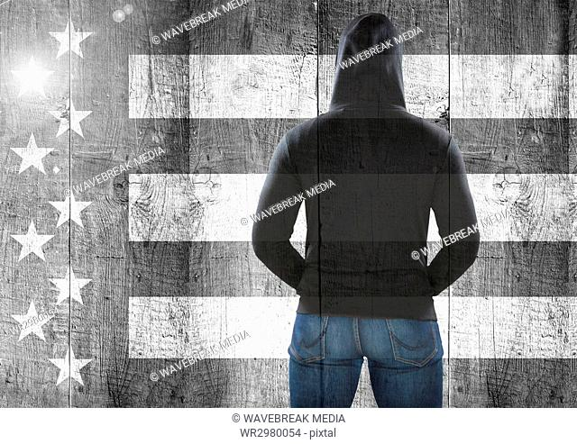 Rear view of man against Black and white american flag