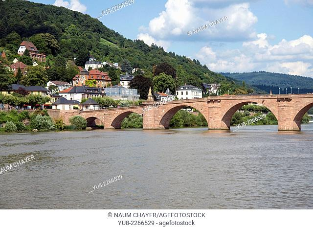 Panorama of city with Old Bridge over river Neckar, Heidelberg, south-west Germany, state of Baden-Württemberg, Europe